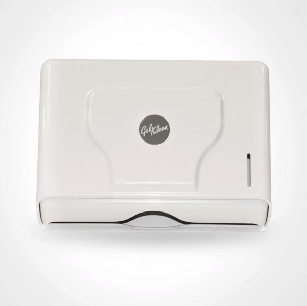 Despachador color blanco de toalla interdoblada mini marca Gel Kleen